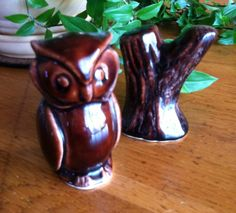 A personal favorite from my Etsy shop https://www.etsy.com/listing/183577561/vintage-owl-and-stump-salt-and-pepper