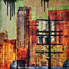 Dramatic collage combining abstraction and realism: Urban View, Anyes Galleani Art Prints Online, A Level Art, Wow Art, Pastel Art, City Art, Urban Landscape, Urban Art, Collage Art, Collages