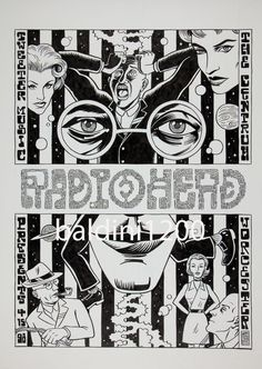 Radiohead Concert at The Centrum Poster Artwork, in Adan Salazar's Poster Original Artwork Comic Art Gallery Room Pop Posters, Concert Posters, Poster Prints, Graphic Posters, Radiohead Poster, Collage Des Photos, Black And White Posters, Music Artwork, Typography Poster