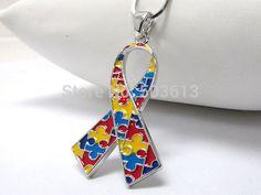Color Enamel Alloy Autism Awareness Ribbon Pendant Necklace