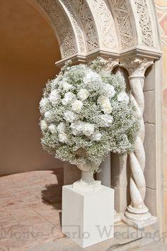 Dramatic hydrangea and gypsophyl standing arrangement. Wedding by Monte-Carlo Weddings.