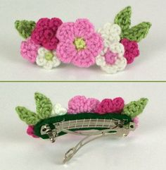 download a FREE pattern every day. ~ Pretty Flower French Clip!    Crochet Stash .Tumblr .Com