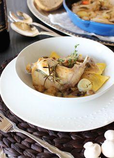 Braised Rabbit over Mushroom & Truffle Ravioli in a Dijon Sauce... The perfect fall comfort food. {via My Daily Randomness}
