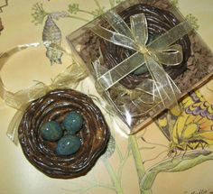 A nest found in your tree at Christmas promises the gift of health, wealth and happiness to all throughout the year!  Wedding Nest Hand Sculpted Pottery Ornament / by TuppersPerch, $16.00