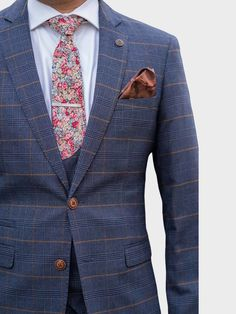 Marc Darcy Jenson Marine Navy Check Suit With Double Breasted Waistcoat | Marc Darcy | Menswearr.com – MENSWEARR