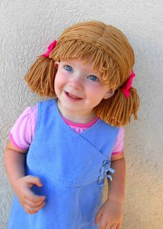 Cabbage Patch Wig, Brown, Pigtail Baby Hat by YumbabY | Etsy
