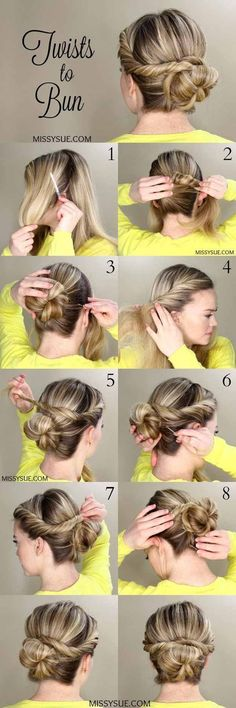 Best Pinterest Hair Tutorials - Twists to Bun - Check Out These Super Cute And Super Simple Hairstyles From The Best Pinterest Hair Tutorials Including Styles Like Messy Buns And Half Up Half Down Hairdos. Dutch Braids Are Super Hot Right Now Too. These Are The Best Hairstyle Tutorials Ideas On Pinterest Right Now. Easy Hair Up And Hair Down Ideas For Short Hair Long Hair and Medium Length Hair. Hair Tutorials For Braids For Curls And Step By Step Tutorials For Prom A Wedding Or Homecom...