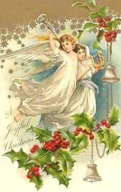 Vintage Christmas Card. (angels)