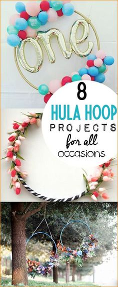8 Hula Hoop Project for all Occasions. Celebrate birthdays, weddings and holidays with this fun upsized artwork. Darling home decor for any room. Kids room, gifting and celebrations.
