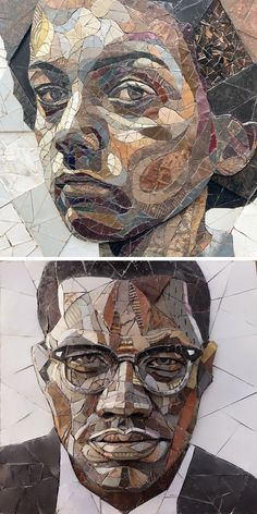 Colossal Art, Impressionist Paintings, Drawing Faces, Drawings, African Art, Contemporary Art, Street Art, Mosaic, Scrap
