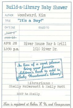 Book baby shower theme invite no phone number by newlywoodwards, via Flickr
