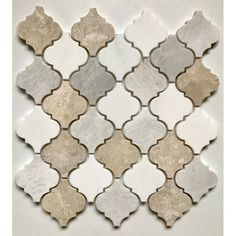 "Arabesque x Marble Mosaic Tile in White/Cream/Gray Cordelio Arabesque 12 ""x Marmor Mosaikfliese in Weiß / Creme / Grau Marble Mosaic, Mosaic Wall, Wall Tiles, Bathroom Marble, Bathroom Fixtures, Cream Bathroom, Bathroom Grey, Tile Murals, Kitchen Fixtures"
