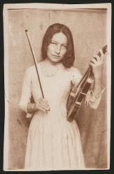 """Zitkala Sa, Sioux Indian and activist- Käsebier photographed Zitkala Sa in tribal dress and western clothing, clearly identifying the two worlds in which this woman lived and worked. In many of the images Zitkala Sa holds her violin.  Known as """"Red Bird"""" and Gertrude  Simmons (1876-1938). A Yankton Sioux of Native American and white ancestry. born on Pine Ridge Reservation in So. Dakota."""