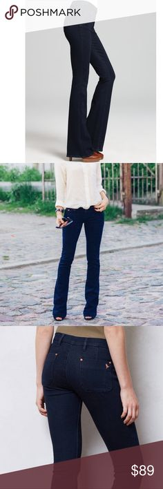Mid rise flare jeans! Mid rise kick flare jeans! Only work once in the house. Dark blue wash M.i.H jeans Jeans Flare & Wide Leg