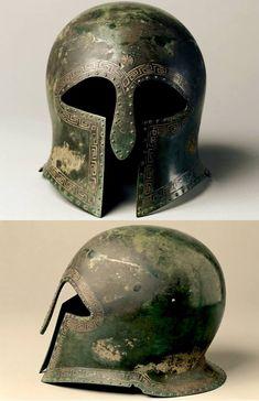 Greek bronze Corinthian Helmet, 500-475 BC. The Cleveland Museum of Art.