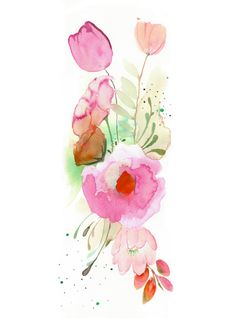 40 Off SALE  Flower Band   Watercolor Painting  door MaiAutumn, $18.00