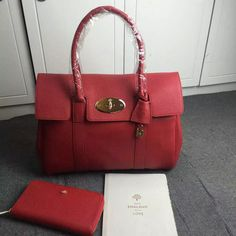 2016 Mulberry Bayswater Tote Fiery Spritz Small Classic Grain