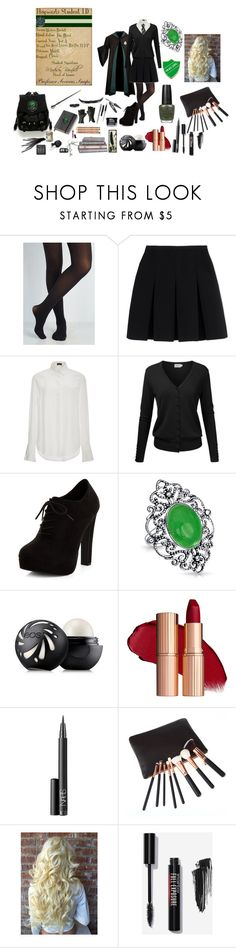"""""""Slytherin First Day of School"""" by isabelle-lightwood-ships-malec ❤ liked on Polyvore featuring Alexander Wang, Joseph, New Look, Bling Jewelry, Eos, NARS Cosmetics, halloweencostume and DIYHalloween"""