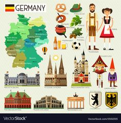 Map of Germany and Travel Icons. Vector Illustration - buy this stock vector on Shutterstock & find other images. Travel Icon, Travel Set, Travel Maps, Free Travel, Travel Posters, Around The World Theme, Travel The World For Free, Berlin Brandenburg, Neuschwanstein