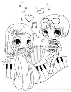 Musical Chibis Lineart by *YamPuff on deviantART