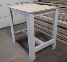 "Bartafel ""Sam"" steigerhout landelijk/wit 80 cm breed   Hills Home   Steigerhouten meubels   Stalen meubels   Painting the Past"