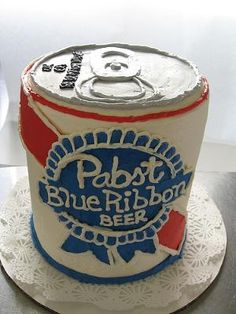 Pabst Blue Ribbon Beer Birthday Cake: My girlfriend made me this cake for my 21st birthday. It was quite delicious as PBR is my favorite beer. I enjoyed the cake with a nice 12 of Pabst.