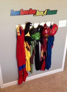 Cute dress up area for a superhero boy room. Big Boy Bedrooms, Kids Bedroom, Bedroom Ideas, Room Boys, Chambre Nolan, Baby Shop, Superhero Room, Superhero Letters, Superhero Dress