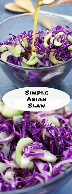 This Simple Asian Slaw recipe is a crispy and refreshing companion to many asian dishes. Comes together in minutes and disappears almost as fast. Such a fun way to eat your veggies. Vegetarian Recipes Potluck, Healthy Eating Recipes, Appetizer Recipes, Real Food Recipes, Cooking Recipes, Potluck Appetizers, Slaw Recipes, Vegetable Recipes, Asian Vegetables