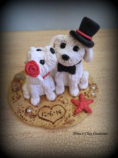 Kissing Puppy Wedding Cake Topper by Trina's Clay Creations