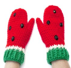 Watermelon Mittens Cute Red Crochet Mittens by VelvetVolcano