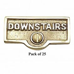 25 Switch Plate Tags DOWNSTAIRS Name Signs Labels Brass