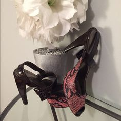 "Linea Paolo snakeskin heels Patent leather brown with pink snakeskin. 4"" heel. Linea Paolo Shoes Heels"