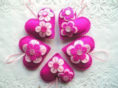Felt Ornament hearts flowers easter spring decoration by feltgofen
