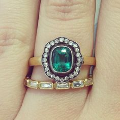 Wedding Ring Wednesday! No big diamond? No big problem. How about an emerald to liven things up? #weddingringwednesday #wedding #ring #wednesday #emerald #diamonds #silver #gold #cushioncut #oldeuropeancut #frenchcut #band #love #instagems #instajewels #drool #handmade #vintage #inspired #propose #engagement #color #green #singlestone #singlestonemissionstreet