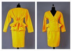 Vintage 80s Emanuel Ungaro Solo donna peplum waist structured skirt suit