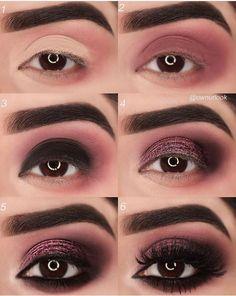 Eye Make-up Tutorial Step By Step Wine Red Originality makeup step by step makeup tutorial makeup natural makeup ideas Eye Makeup Steps, Makeup Tips, Beauty Makeup, Makeup Ideas, Makeup Products, Makeup Designs, Makeup Geek, 80s Makeup, Night Makeup