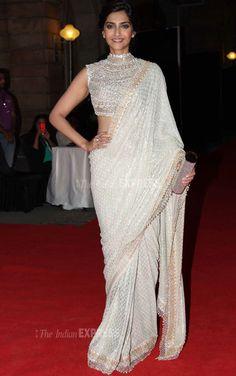 Designer Sonam Kapoor Off White Saree In Georgette GF7140585