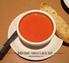 Nordstrom Tomato Basil soup recipe Nordstrom's Cafe is one of my favorite places to eat lunch. If you have one in your area and have never eaten there, trust m Nordstrom Tomato Basil Soup Recipe, Cookbook Recipes, Cooking Recipes, Easy Recipes, Dinner Recipes, Nordstrom Cafe, Creamy Tomato Basil Soup, Tomato Tomato, Cooking