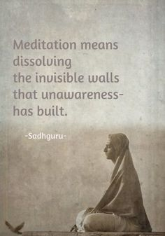 Meditation means dissolving the invisible walls that unawareness has built. Reclaim your inner peace and spiritual connection through meditation. Malas are a great tool to assist with meditation, especially for beginners! Visit our site to learn more, a Meditation Meaning, Meditation Quotes, Daily Meditation, Yoga Quotes, Mindfulness Meditation, Meditation Images, Meditation Practices, Spiritual Awakening, Spiritual Quotes