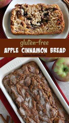 The house smells amazing when this apple cinnamon bread is baking! This gluten-free cinnamon bread is loaded with chunks of fresh, tart apples. Apple cinnamon bread goes well with any gluten-free brunch! Gluten Free Recipes For Breakfast, Gluten Free Sweets, Gluten Free Breakfasts, Gluten Free Cakes, Gluten Free Diet, Gluten Free Cooking, Apple Recipes Gluten Free, Gluten Free Apple Cake, Dairy Free