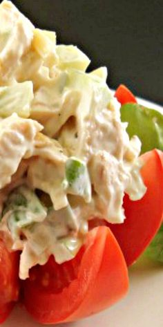 "// // This Chicken Salad recipe is the perfect dish for a luncheon or a shower. The presentation when served on this tomato flower is so cute and it just screams ""chick food"", don'… Grilled Chicken Sandwiches, Chicken Sandwich Recipes, Best Chicken Salad Recipe, Chicken Salads, Meat Salad, Soup And Salad, Top Recipes, Cooking Recipes, Wrap Sandwiches"