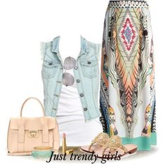maxi skirt with denim vest Maxi skirts in pastel colors http://www.justtrendygirls.com/maxi-skirts-in-pastel-colors/