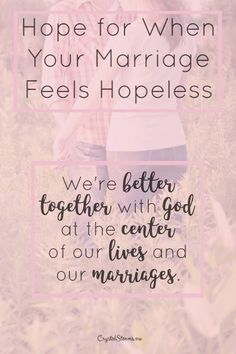 Does your marriage feel hopeless? Feel like the fighting will never end? I want to offer hope. Hope for when your marriage feels hopeless. Hope that this won't last forever. Hope that things can get better. Communication In Marriage, Intimacy In Marriage, Biblical Marriage, Marriage Relationship, Happy Marriage, Marriage Advice, Fierce Marriage, Happy Relationships, Christian Marriage Quotes