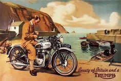 Vintage 1950's Triumph T100 Motorcycles by VintagePosterShopUK