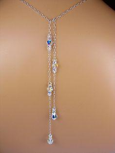 Backdrop Bridal Necklace Swarovski Crystal Teardrop Lariat Style Tie Back  Necklace Wedding Back Necklace Sterling Silver 5b1b0bc629157