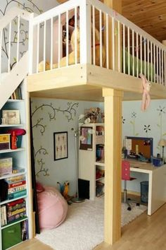 Loft with stairs and under-stair bookshelf. Good use of space.  I could make this into a fort or reading nook for grandsons!!!  Love it!