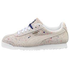 Puma Roma S Splatter Mens 361860-01 White Gold Blue Shoes Sneakers Size 10.5