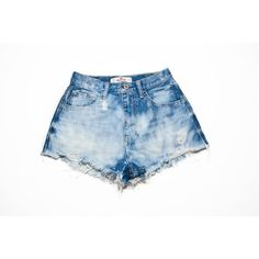 SALE Vintage Hollister Bleach-dyed High Waisted Denim Shorts Size 00 (34 BAM) ❤ liked on Polyvore featuring shorts, denim shorts, high-waisted jean shorts, high rise denim shorts, bleached shorts and vintage shorts