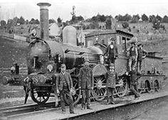 Victorian Railways F-class 2-4-0 Steam Locomotive  Crew on the Turntable, Daylesford, Victoria, 1890.