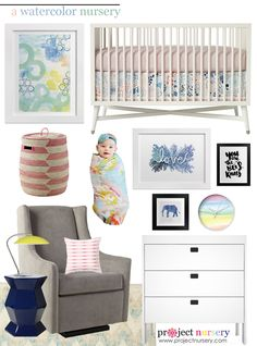 Watercolor Nursery Design Board - Project Nursery